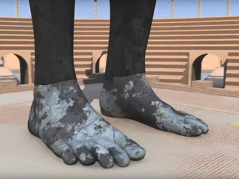 The feet of the statue were partly made of iron and partly of baked clay. This kingdom will be partly strong and partly brittle. Its people will be a mixture and will not remain united, any more than iron mixes with clay. (Christians differ in their interpretation of this kingdom but many believe it is yet to come and link it to the final kingdom of the anti-Christ - Revelation 17:12-14). – Slide 7