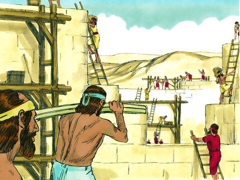 Despite being mocked by their enemies, the builders set to work rebuilding the walls of Jerusalem. Each family or group repaired a section of the wall. – Slide 1