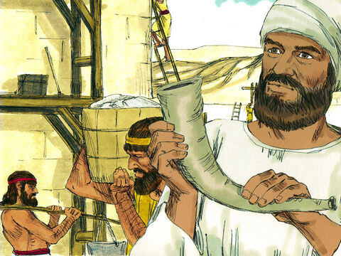 Nehemiah stationed armed men with swords, spears and bows in the gaps in the walls. A trumpeter stood by Nehemiah ready to sound the alarm. 'Don't be afraidof them,' Nehemiah urged, 'Rememberthe Lord, who is great and awesome,and will fightfor you all.' – Slide 10