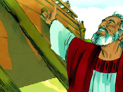 At once, Noah and his sons started to build the huge box shaped boat. – Slide 6