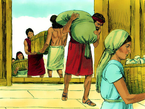 Genesis 7 When the ark was ready, God told Noah the flood would be coming in 7 days' time. Noah, his three sons and their wives were told to take their possessions aboard. They stored food for the animals coming aboard too. – Slide 8