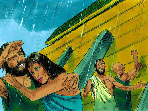 God then closed the door of the ark and the rain began to fall. For 40 days it rained heavily; rivers burst their banks, and flood waters got higher and higher. – Slide 10