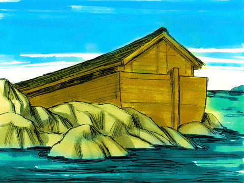 Genesis 8. As the flood water went down the ark came to rest on the mountains of Ararat. – Slide 14