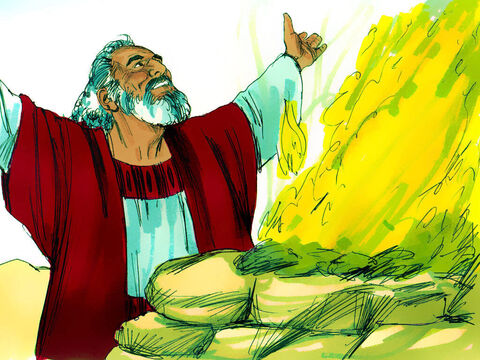 Noah built an altar to the Lord and made sacrifices to God. – Slide 22