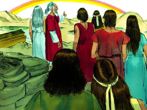 God put a rainbow in the sky. God then told Noah, 'This rainbow is the sign of my promise never to flood the whole earth again.' – Slide 24