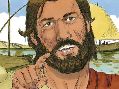 Jesus was by Lake Galilee when very large crowds gathered and surrounded him eager to hear what he had to say. – Slide 1