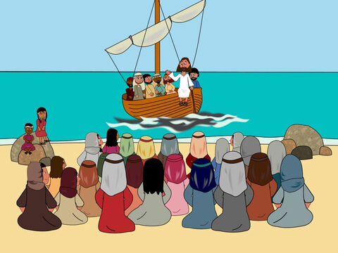 One day Jesus was teaching the people and there were so many that He had to climb into a boat while the crowd sat on the shore. Jesus spoke to them as the boat bobbed up and down on the water. – Slide 1