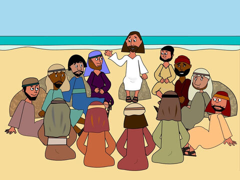 Later on that day, when all the other people had gone, the disciples of Jesus asked Him about the story of the farmer and the seed because they didn't understand what it really meant. – Slide 7