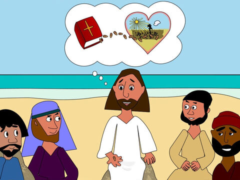 'And some people,' said Jesus, 'believe the Word of God and plant it into their hearts but then some of their friends and family make fun of them and even bully them because they believe in God. They feel sad and afraid and stop believing God's Word just like the plant that shrivelled up in the sun.' – Slide 10
