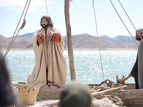 Jesus was by Lake Galilee when very large crowds gathered and surrounded Him, eager to hear what He had to say. So Jesus got into a boat moored near the shore while the crowds stood on the water's edge. Jesus then told them this parable. – Slide 1
