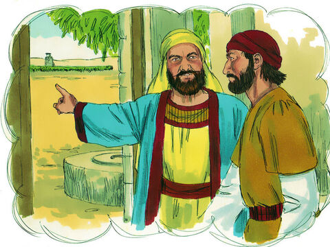 When the harvest approached, he sent one of his servants to collect his share of the fruit. – Slide 5