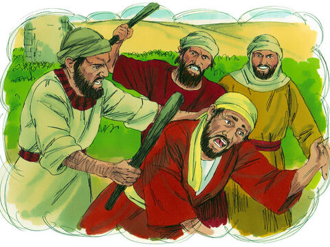 The farmer sent another servant but they struck him on the head and treated him badly. – Slide 7