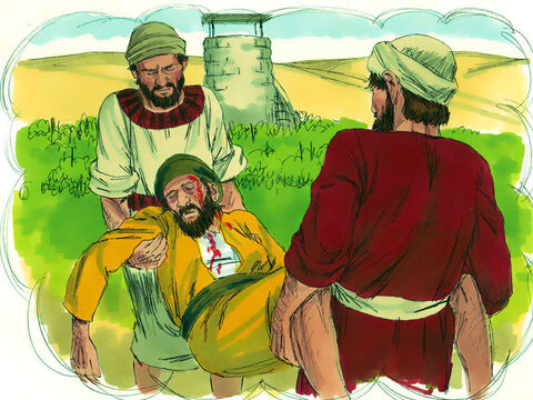 Another servant was sent but he was set upon and killed. Other servants came to collect the farmer's share of the harvest but they were also beaten or killed. – Slide 8