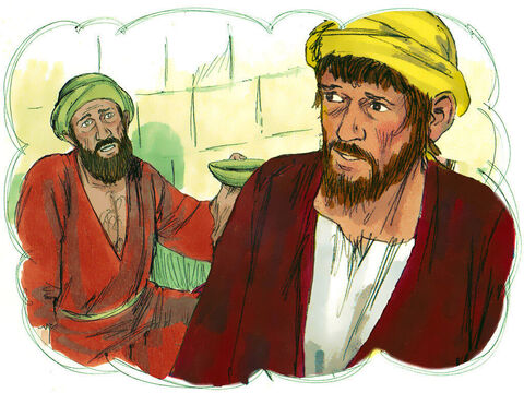 'About the time his money ran out, a great famine swept over the land, and he began to starve. – Slide 7