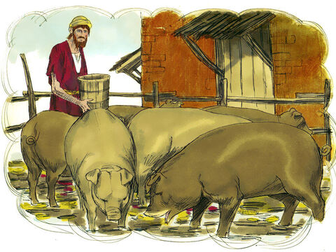 'He persuaded a local farmer to hire him to feed the pigs.He was so hungry that even the pods he was feeding the pigs looked good to him. But no one gave him anything. – Slide 9