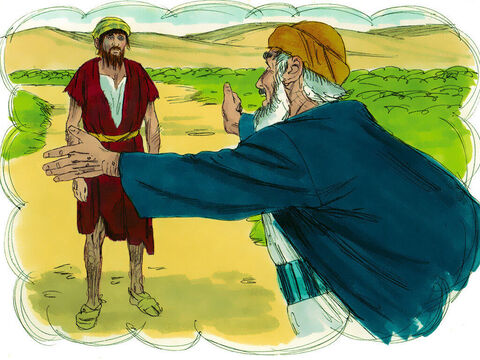 'So he returned home to his father. While he was still a long way off, his father saw him coming. Filled with love and compassion, he ran to his son, embraced him, and kissed him. – Slide 12