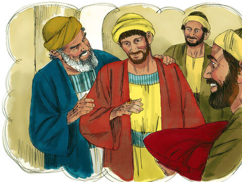 """'But his father said to the servants, """"Quick! Bring the finest robe in the house and put it on him. Get a ring for his finger and sandals for his feet.Kill the calf we have been fattening. We must celebrate with a feast, for this son of mine was dead and has now returned to life. He was lost, but now he is found."""" – Slide 14"""