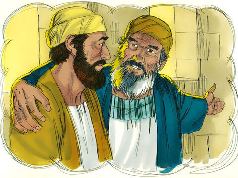 """'His father said to him, """"You have always stayed by me, and everything I have is yours. We had to celebrate this happy day. For your brother was dead and has come back to life! He was lost, but now he is found!'"""" – Slide 18"""