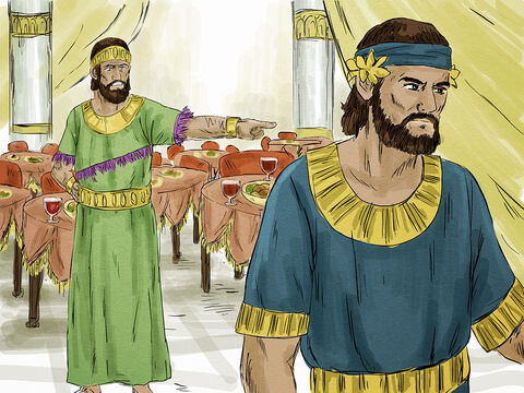 """The King sent more servants, """"Tell those who have been invited that I have prepared my dinner. My oxen and fattened cattle have been slaughtered, and everything is ready. Come to the wedding banquet."""" – Slide 5"""