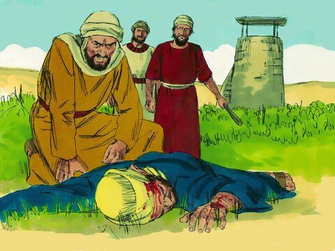 The rest seized his servants, ill-treated them and killed them. – Slide 8