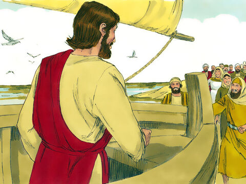 A large crowd gathered by the shore and Jesus taught them from a boat. He told them parables to help them understand what the Kingdom of Heaven is like. – Slide 1