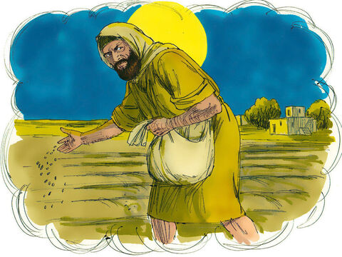 'But while everyone was sleeping, his enemy came and sowed weeds among the wheat, and went away. – Slide 3