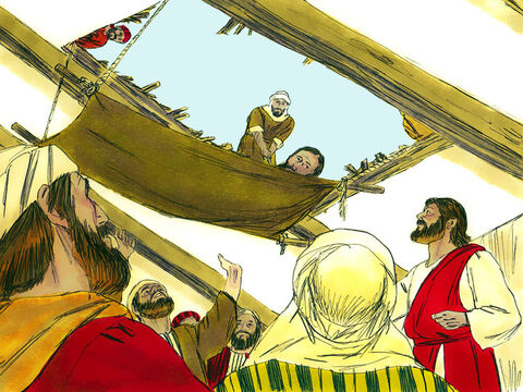 Those below saw the hole appear and get bigger until it was large enough for the paralysed man to be lowered on his bed mat to Jesus. – Slide 4