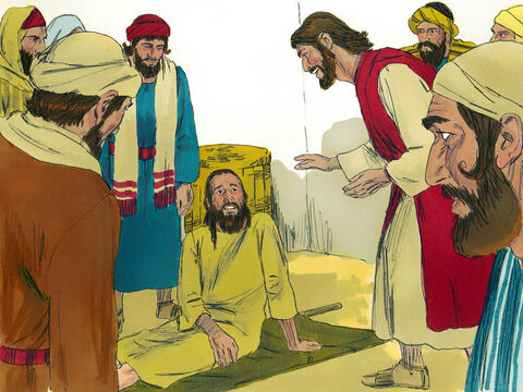 When Jesus saw the men's faith he said to the paralysed man, 'Son, your sins are forgiven.' – Slide 5