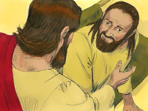 Jesus continued, 'I want you to know that I have the power to forgive sin.' Then Jesus went to the paralysed man and said, 'Get up, pick up your mat and go home.' – Slide 8