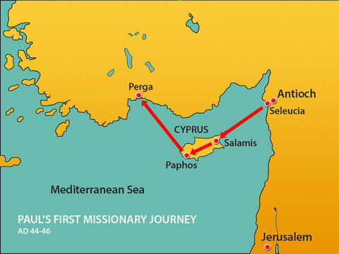 Paul, Barnabas and Mark set sail from Paphos in Cyprus heading towards the port of Perga. – Slide 1