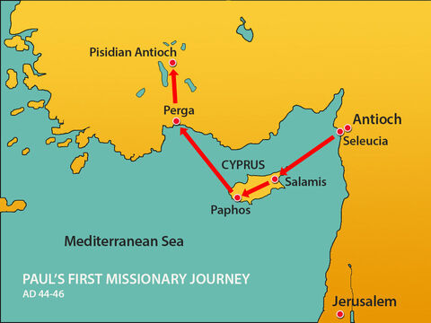 Paul and Barnabas headed inland to a region known as Pisidia to the capital city of Antioch. Pisidian Antioch was an important city where several trade routes met. – Slide 4