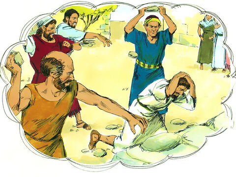 A mob of Gentiles and Jews, along with their leaders, plotted to attack and stone Paul and Barnabas. – Slide 14