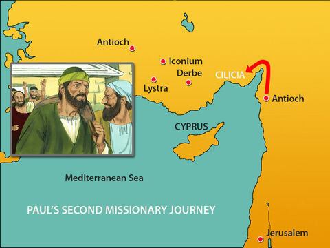 They headed through Syria and into the region of Cilicia. Silas was able to share the letter the leaders in Jerusalem had written to help and encourage the Gentile Christians. Both men taught God's Word to help the churches grow stronger in faith. – Slide 5