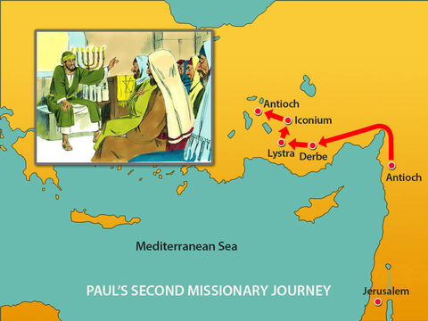 They then moved onto Derbe and the other nearby places Paul had visited on his first trip. – Slide 6