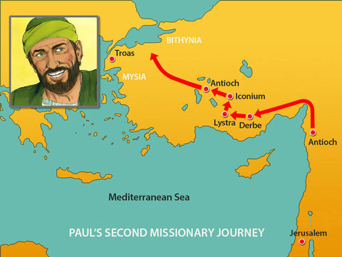 Next Paul and Silas travelled through the area of Phrygia and Galatia. They considered going south into Asia but the Holy Spirit prevented them. So they headed north for the province of Bithynia, but again the Spirit of Jesus did not allow them to go there. – Slide 9