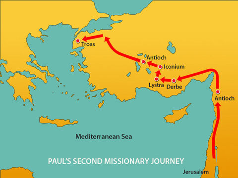 So instead, they went on through Mysia to the seaport of Troas. – Slide 10