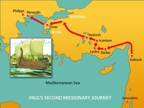 From there they reached Philippi, a major city of the district of Macedonia and a Roman colony. – Slide 14