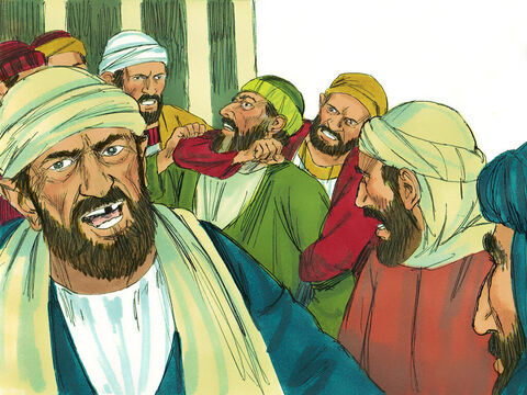 They grabbed Paulyelling, 'Men of Israel, help us! This is the man who preaches against our people and tells everybody to disobey the Jewish laws. He speaks against the Temple and even defiles this holy place by bringing in Gentiles.' – Slide 4