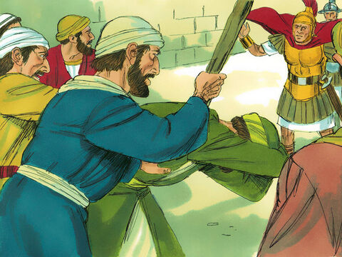 Paul was grabbed and dragged out of the Temple, and immediately the gates were closed behind him.As they were trying to kill him, word reached the commander of the Roman regiment that Jerusalem was in an uproar.He immediately called out his soldiers and officersand ran down among the crowd. – Slide 5