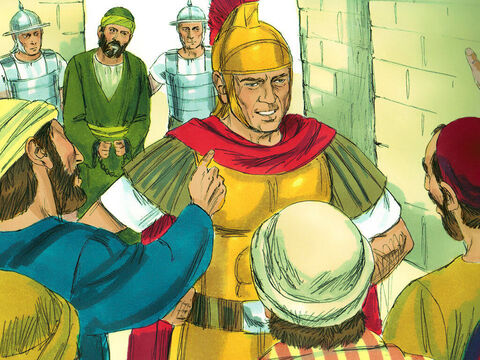 When the mob saw the commander and the troops coming, they stopped beating Paul. The commander arrested Paul, had him bound with two chains. and ordered that he be taken to the fortress. The crowd followed behind, shouting, 'Kill him, kill him!' – Slide 6