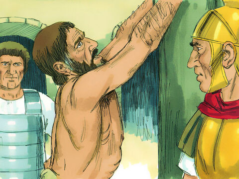 Paul said to the officer nearby, 'Is it legal for you to whip a Roman citizen who hasn't even been tried?'Roman citizens could not be punished without a trial. – Slide 11