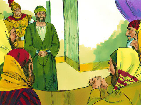 The next day the commander ordered the leading priests into session with the Jewish high council. He wanted to find out what the trouble was all about, and brought Paul before them. – Slide 14