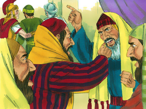 The council began arguing among themselves as the Sadducees did not believe in resurrection or angels or spirits, but the Pharisees believed in all of these. In the uproar that followed the commander was afraid for Paul's safety and ordered his soldiers to rescue him by force and take him back to the fortress. – Slide 17