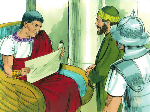 That night, the soldiers escorted Paul as far as Antipatris.They returned to the fortress the next morning, while the mounted troops took Paul on to Caesarea. 'I will hear your case myself when your accusers arrive,' the governor told Paul. – Slide 24