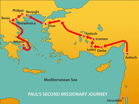 Paul was in Athens waiting for Silas and Timothy to travel from Berea to join him. – Slide 1