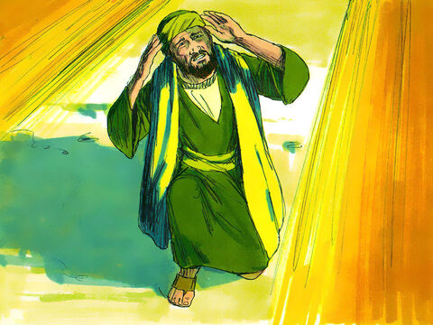 As he got near to the city, suddenly a light from heaven flashed around him and he fell to the ground. He heard a voice: 'Saul, Saul, why do you persecute me?' – Slide 5