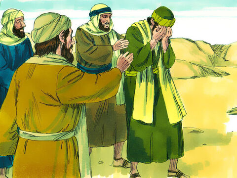 The men traveling with Saul stood there speechless. They heard the sound but did not see anyone. Saul got up, but when he opened his eyes he could see nothing. – Slide 7