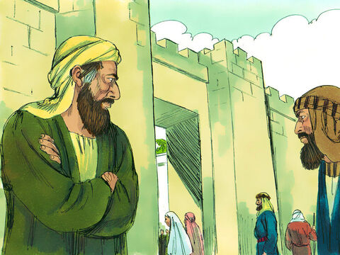 They kept watch at the city gates hoping to kill him. But Saul learnt of their plans. – Slide 19