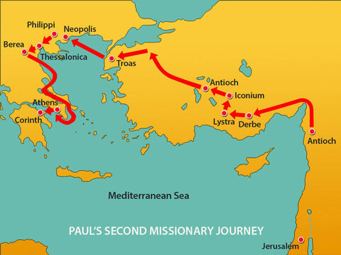 From Athens Paul travelled to Corinth, a major city in the Roman Empire at a crossroads of important trade routes. – Slide 1
