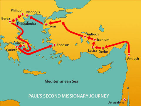 Then he set sail for Ephesus, taking Priscilla and Aquila with him. – Slide 14
